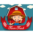 Logo design with farmer and barn vector image