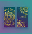 luxury mandala cards in golden theme vector image vector image