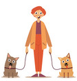 man with dogs on a leash vector image vector image
