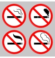 No Smoking Cigarette Prohibited Symbols vector image