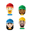 people wearing ball caps flat icon set vector image