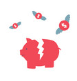 pink piggy bank broken flat cartoon vector image vector image