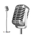 retro metal microphone with stand chrome vector image vector image