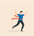 running businessman crosses a finish line red vector image