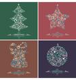 set decorative christmas elements vector image