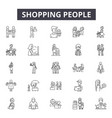 shopping people line icons signs set vector image