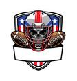 skull wearing american football helmet vector image vector image