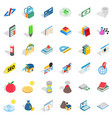 studying chemistry icons set isometric style vector image vector image