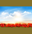 sunset sky background with red poppy flowers vector image vector image
