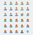 user avatar icon set in flat style vector image