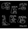 Vintage rotary dial telephone sketch icons vector image vector image
