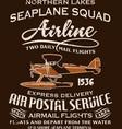 Vintage seaplane airmail service vector image vector image