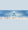 wide angle view town background christmas with vector image vector image