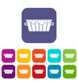 wooden tub icons set flat vector image vector image