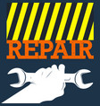 wrench in hand repair and service vector image vector image