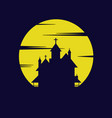 yellow moon castle silhouette background vector image