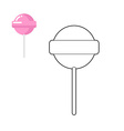 Lollipop coloring book Pink round sweets for vector image