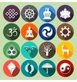 Buddhism Icons Set Flat vector image