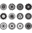 Collection of gear wheels isolated on white vector image