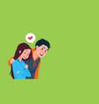 young boy embrace girl heart shape image cute vector image