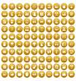 100 farm icons set gold vector image vector image