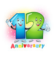 12 anniversary funny digits vector image