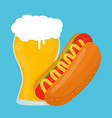 beer and hot dog flat cartoon vector image vector image