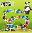 boardgame template with two pandas in park vector image vector image