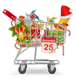 Cart with Christmas Decorations vector image vector image