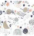 cartoon cosmic background cute planets moon vector image