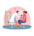 cartoon woman with son at pediatrician room vector image