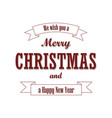 christmas red text ribbon merry christmas and vector image vector image