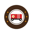 color circular emblem with fuel trailer vector image vector image