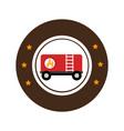 color circular emblem with fuel trailer vector image