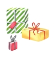 Colorful gift boxes on white background vector image vector image