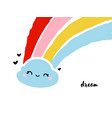 cute and funny kawaii rain cloud with rainbow vector image vector image