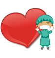 empty big heart banner with a doctor wearing mask vector image