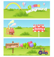 fairy cartoon flat concept landscapes set vector image