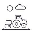 farm harvesttractor line icon sign vector image vector image