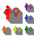 female sign set of red orange vector image