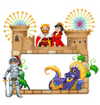 Frame design with fairytales characters vector image vector image