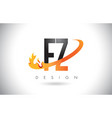 fz f z letter logo with fire flames design and vector image vector image