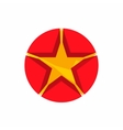 Gold star in a red circle icon cartoon style vector image vector image