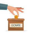 hand depositing coins in a carton box with banner vector image vector image