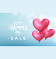 happy womens day sale banner with ballon heart