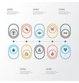 holiday icons colored line set with present vector image