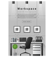 Interior design Modern workspace banner 8 vector image