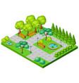 isometric spring park landscape concept vector image vector image