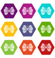 little butterfly icons set 9 vector image vector image
