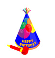 Party hat and noisemaker vector image